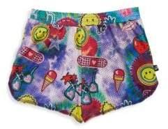 Terez Girl's Tie-Dye Printed Mesh Shorts