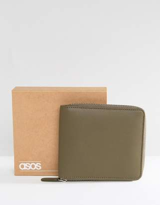 Asos DESIGN Leather Oversized Zip Around Wallet In Khaki