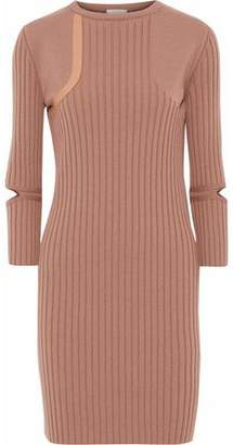 Nina Ricci Cutout Leather-trimmed Ribbed Wool-blend Mini Dress