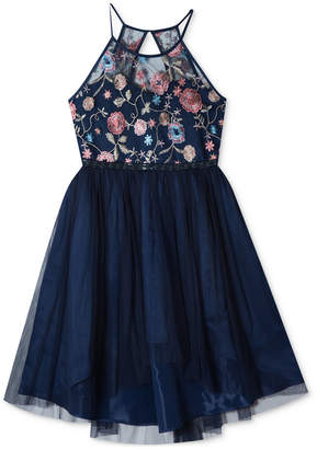 Rare Editions Embroidered High-Low Hem Dress, Big Girls
