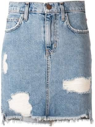 Current/Elliott ripped denim mini skirt