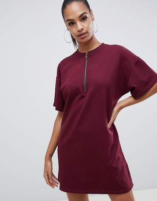 Missguided zip down oversized t-shirt dress in burgundy