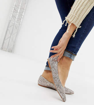 Asos DESIGN Wide Fit Latch pointed ballet flats