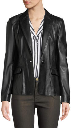 Frame Schoolboy Single-Button Leather Blazer