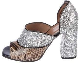 Marni Glitter Peep-Toe Pumps Silver Glitter Peep-Toe Pumps