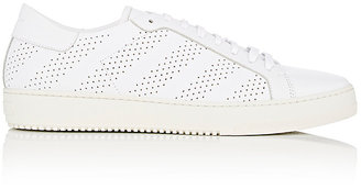 Men's Diagonal-Striped Perforated Leather Sneakers