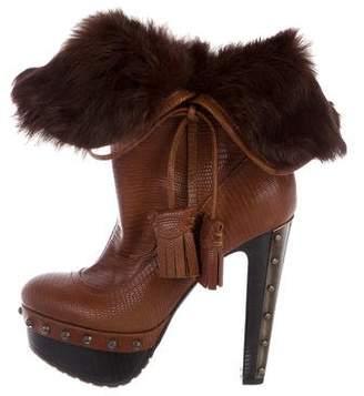 Baldinini Platform Fur-Trimmed Boots