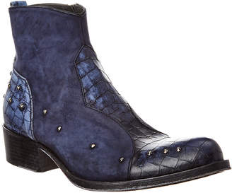 Jo Ghost Reptile-Embossed Leather & Suede Boot