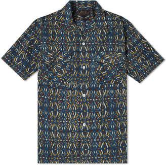 Beams Short Sleeve Open Collar Indian Block Print Shirt