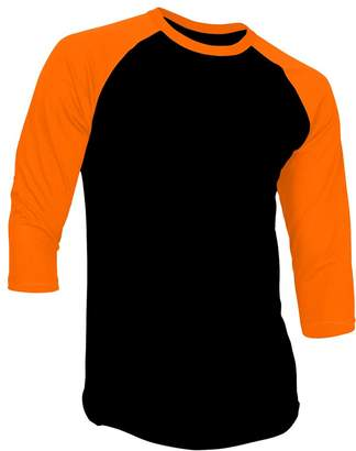 DS DealStock Men's Plain Raglan Shirt 3/4 Sleeve Athletic Baseball Jersey, Black/Gold
