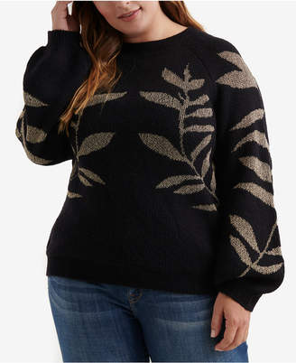 Lucky Brand Plus Size Metallic Leaf Pullover Sweater