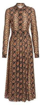 Michael Kors Crushed Snakeskin-Print Silk Shirtdress