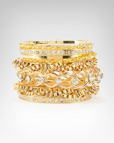 Woven Chain & Crystal Bangle Set