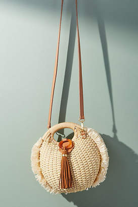 Anthropologie Pomona Straw Crossbody Bag