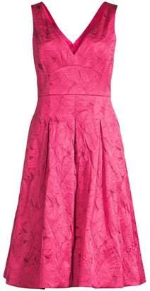 343bbc523dbd Elie Tahari Mohini Floral Jacquard V-Neck Fit and Flare Dress