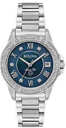 Bulova Marine Star Diamond and Stainless Steel Blue Dail Watch-?96R215 $550 thestylecure.com