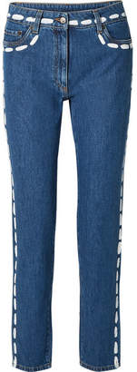 Moschino Painted Mid-rise Skinny Jeans - Blue