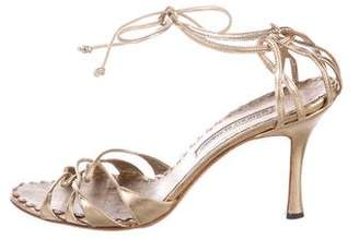 Manolo Blahnik Leather Wrap Around Sandals