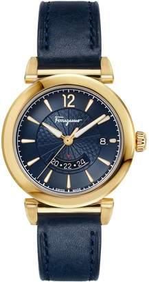 Salvatore Ferragamo Feroni GMT Stainless Steel Leather-Strap Watch