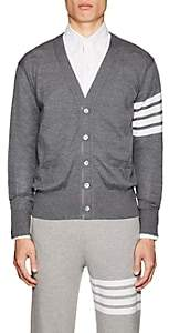 Thom Browne Men's Block-Striped Wool V-Neck Cardigan - Gray
