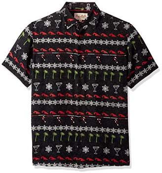 Margaritaville Men's Short Sleeve Holiday Party Print Shirt