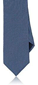 Barneys New York MEN'S NEAT-PATTERN SILK SATIN NECKTIE-NAVY
