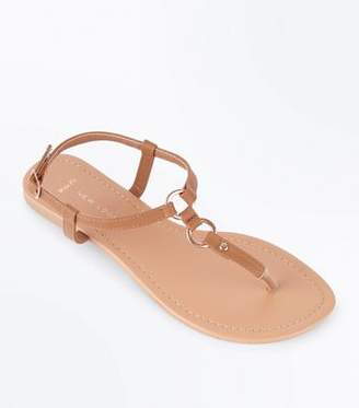 New Look Wide Fit Tan Ring Strap Flat Sandals