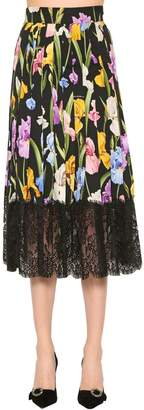 Dolce & Gabbana Stretch Silk Charmeuse & Lace Skirt