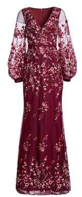 David Meister Floral-Embroidered Deep V-Neck Gown