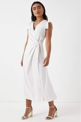 Closet Womens Stripe Wrap Midi Dress - White