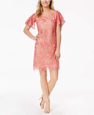 Taylor Floral-Embroidered-Mesh Shift Dress
