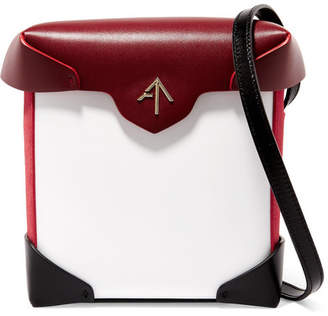 Atelier MANU Pristine Mini Color-block Leather And Suede Shoulder Bag - White