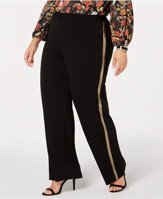 NY Collection Plus Size Metallic-Stripe Pants, Plus Size & Petite Plus Size