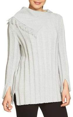 Chaus Fringe Neck Ribbed Sweater