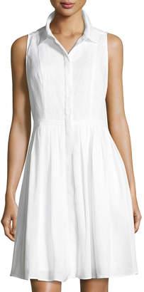 Neiman Marcus Sleeveless Button-Front Linen Dress, White $99 thestylecure.com