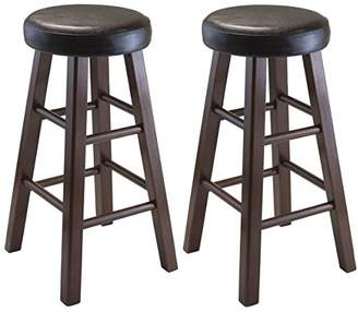 Winsome Wood Marta Assembled Round Counter Stool with PU Leather Cushion Seat