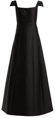 Vika Gazinskaya Cap Sleeved Taffeta Gown - Womens - Black