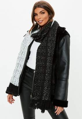 Missguided Black Pattern Textured Frill Scarf