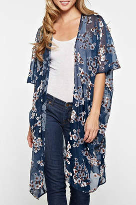 Love Stitch Sheer Burnout Kimono