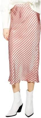 Topshop Stripe Satin Bias Midi Skirt