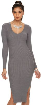 Women's Jennifer Lopez Ribbed V-Neck Sweaterdress $70 thestylecure.com