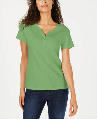 Karen Scott Short Sleeve Henley Top