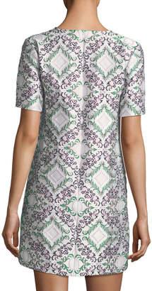 Zac Posen Short-Sleeve Metallic Jacquard Shift Cocktail Dress