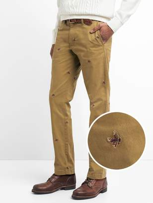 Gap Vintage Embroidered Pants in Slim Fit with GapFlex