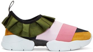 Emilio Pucci Pink & Green Colorblock Ruffle Slip-On Sneakers $550 thestylecure.com