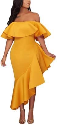 Merry Mou Store Merry Women's Asymmetric Ruffle Off Shoulder Hi Low Midi Cocktail Party Dress S