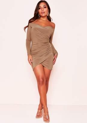 Missy Empire Missyempire Kiara Camel Ruched Bardot Mini Dress 2183b785c