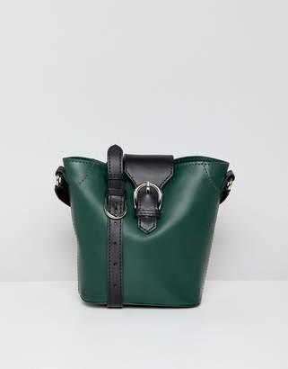 Asos Design DESIGN structured leather buckle detail bucket bag
