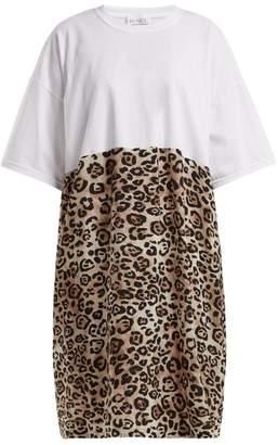 Raey - Cotton And Leopard Print Silk T Shirt Dress - Womens - Leopard