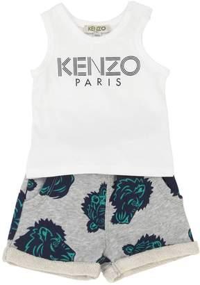 Kenzo Logo Printed Jersey Top & Sweat Shorts